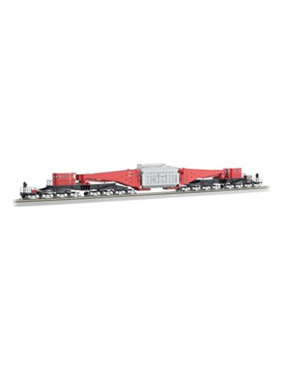 bachmann industries 380- ton schnabel transformer car, red & black with gray load & silver trucks