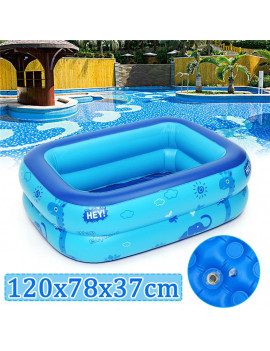"47''x31''x​15"" 3 Layers Portable Inflatable Swimming Pool, Water Park Swim Center Kids Pool Bathing Tub - (Color: Blue+White)"