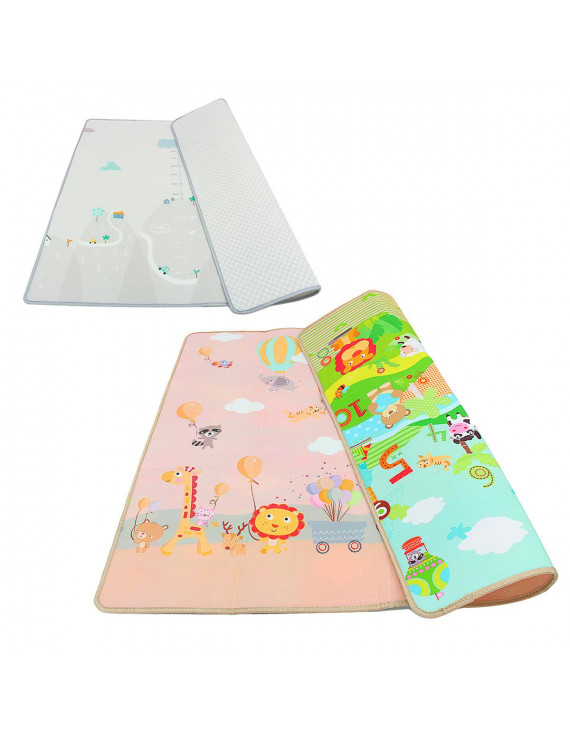 79''x71'' Double-sided Crawling Mat Playmat Waterproof Portable Thick Baby Rug Floor Carpet Drawing Alphabet Figures Animals Pattern for Baby Infant Toddlers