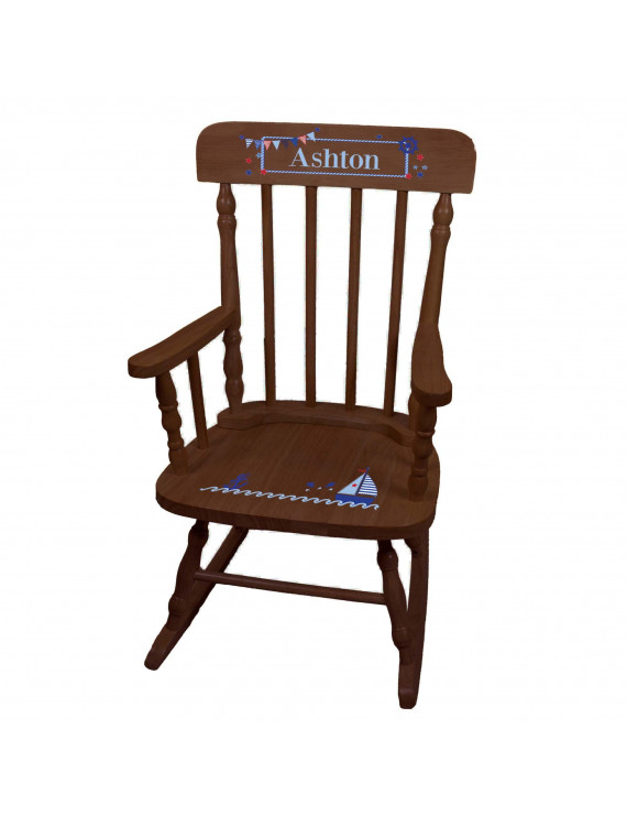 Sailboat Spindle Rocking Chair-Espresso