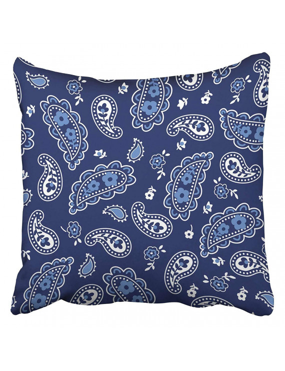 ARHOME Navy Western Cute Bandana Paisley Pattern Blue Floral Kids Small Baby Bandanna Black Pillow Case Cushion Cover 20x20 inch