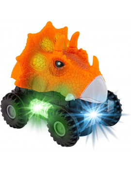 Toy To Enjoy Dinosaur Car with LED Lights & Sound – Animal Vehicle Toys for Kids & Toddlers – Light Up Dino Cars for Age 2-8 Years – Kids Dinosaur Toys (Orange)