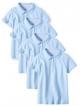 Wonder Nation Girls School Uniform Short Sleeve Interlock Polo Shirt, 4-Pack Value Bundle, Sizes 4-18