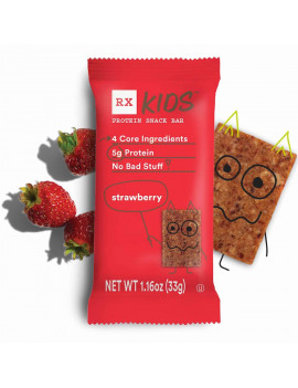 RX Kids Strawberry Protein Snack Bars, Gluten Free, 5 Ct (New Taste & Texture!)