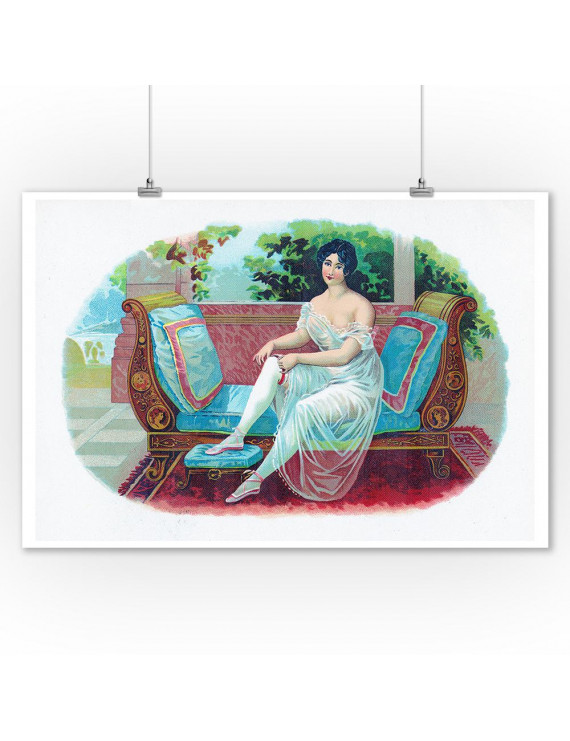Woman Lounging on a Blue Pillowed Couch, Foot on Bench (9x12 Art Print, Wall Decor Travel Poster)
