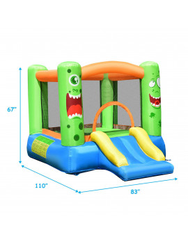 CostwayInflatable Bounce House Jumper Castle Kids Playhouse w/ Basketball Hoop & Slide