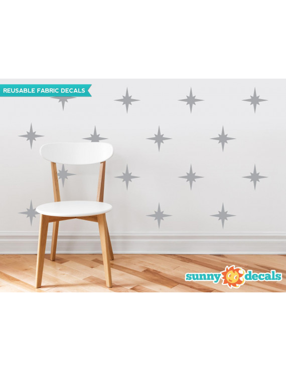Retro Stars Fabric Wall Decals, Set of 22 Mid Century Modern Stars, Star Pattern - 19 Color Options-Beige/