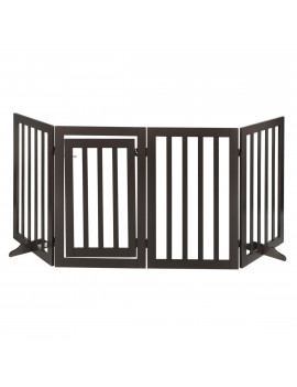 4 Panel Dog Fence Free Standing Playpen Wood Folding Construction W/Gate