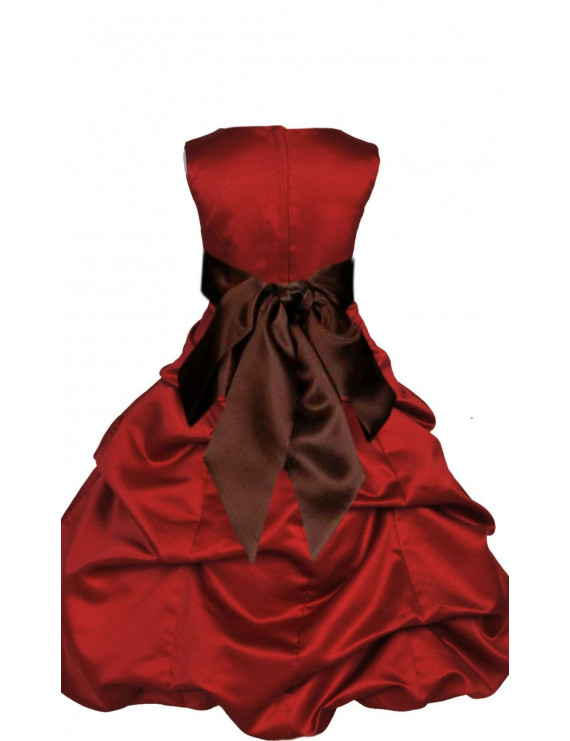 Ekidsbridal Formal Satin Apple Red Flower Girl Dress Christmas Bridesmaid Wedding Pageant Toddler Recital Easter Holiday Communion Birthday Baptism Occasions 2 4 6 8 10 12 14 16 806s Brown size