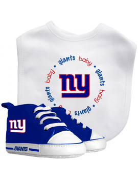 Baby Fanatic NFL Velcro-Closure Bib and High-Top Pre-Walker Set, New York Giants