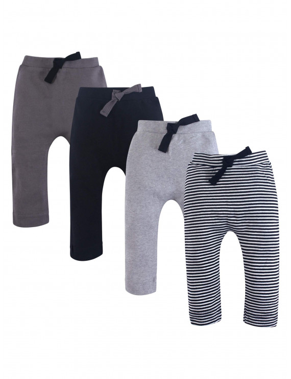 Touched by Nature Baby Boy Organic Harem Pants, 4-pack