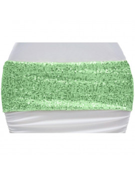 "1 Pc, Glitz Sequin Spandex 5 X 12"" (Unstretched) Chair Band - Mint Green For Wedding Ceremonies & Receptions, Bridal Showers, Baby Showers, Quinceaneras, Anniversary Parties, Or Special Event"