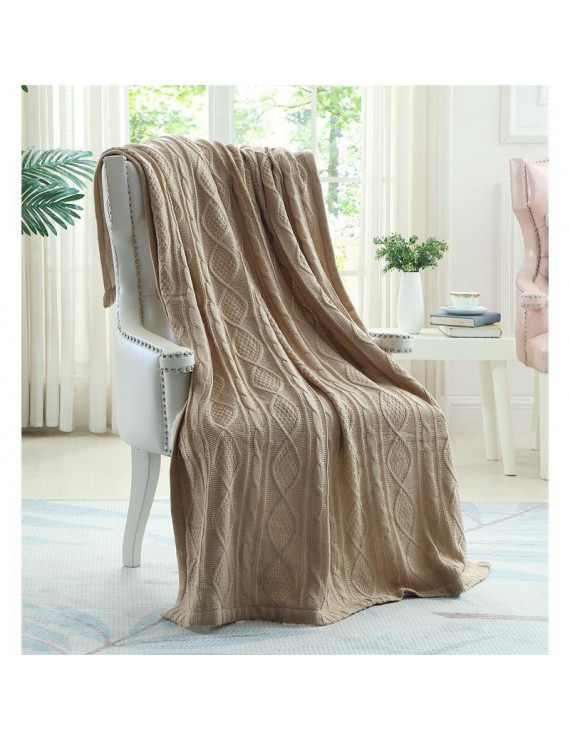 "Posh Living Sacha 50""x60"" Cable Knit Super Soft Fabric Throw in Taupe"