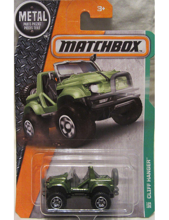 2016 MBX Explorers Cliff Hanger Jeep 124/125, Green, 1:64 scaled die-cast jeep. By Matchbox From USA