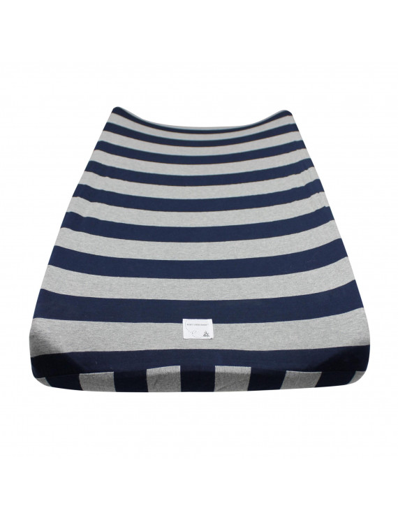 Wide Stripe Organic Changing Pad Cover, Blueberry