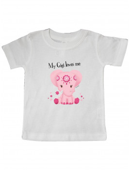 Aditi My Gigi loves me Pink Elephant beautiful Baby T-Shirt