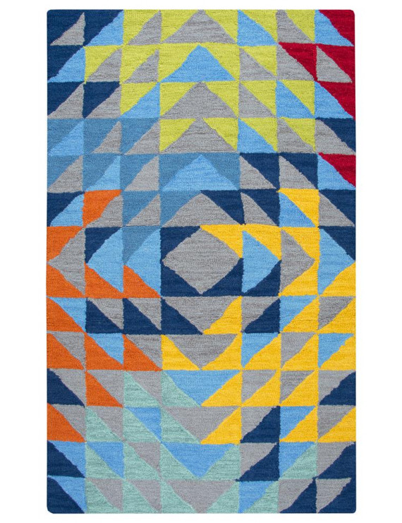 Gatney Rugs Longford Area Rug PD588A Gray Refracted Shapes 3' x 5' Rectangle