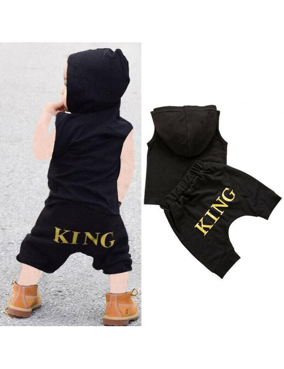 Summer Newborn Kid Baby Boy Clothes Sleeveless Hooded Tops+Shorts Outfits Set