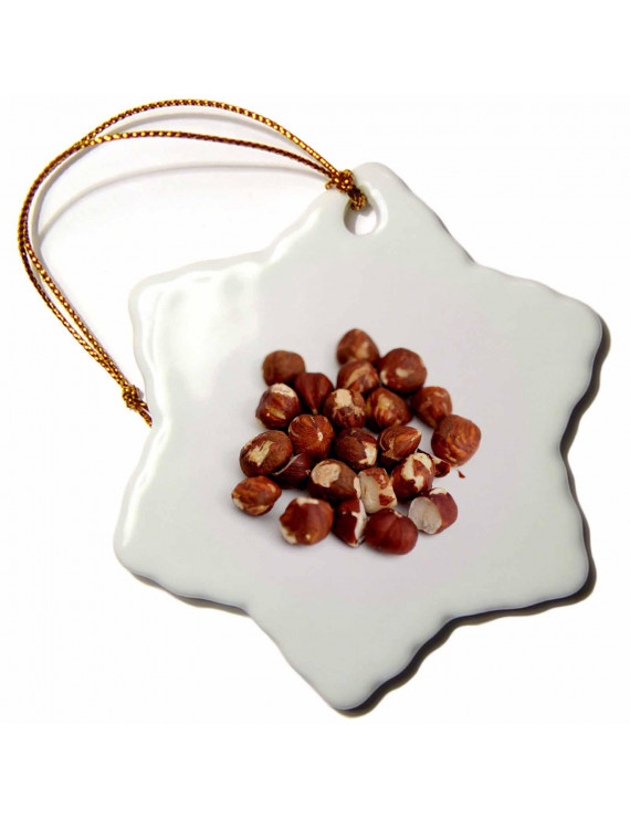 3dRose Pile of brown hazelnuts on white background - healthy, nut, ingredient, organic, food, snack, nutty - Snowflake Ornament, 3-inch