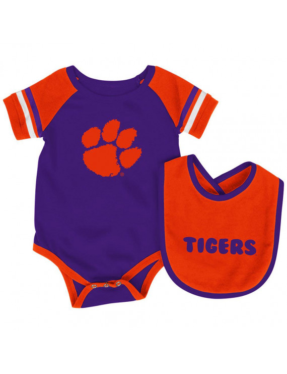 Clemson Tigers Colosseum Newborn & Infant Roll-Out Bodysuit & Bib Set - Purple/Orange