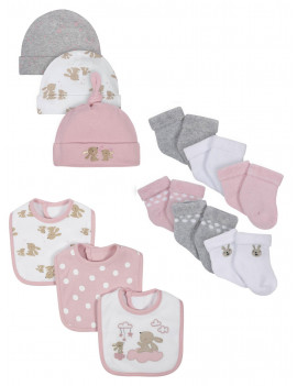Wonder Nation Baby Girl Socks, Bibs & Caps Accessory Set, 12-Piece