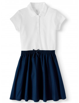 Wonder Nation Girls School Uniform 2-fer Dress, Sizes 4-16