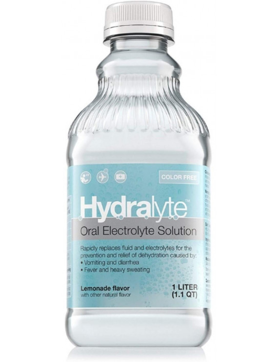 4 Pack - Hydralyte Oral Electrolyte Solution Color-Free, Lemonade, 33.8 oz