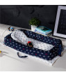 Baby Mattress Portable Newborn Multifunctional Nursery Foldable Ship Anchor Pattern Baby Bed (Dark Blue & White)