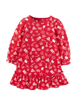 Carters Infant Toddler Girls Red Holiday Fleece Nightgown Gown Nightie