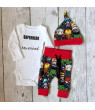 3pcs Infant Baby Boy Superhero Tops Romper+Long Pants Hat Outfit Summer