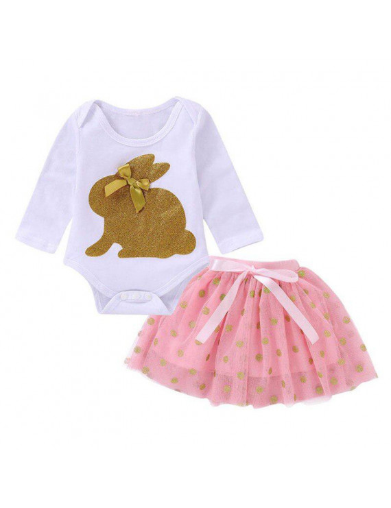 Newborn Infant Baby Girl Romper Long Sleeve Clothes Baby Girl Tutu Dress +Jumpsuit Outfit 2pcs