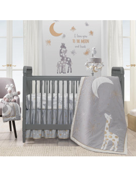 Lambs & Ivy Goodnight Giraffe 4-Piece Crib Bedding Set - Gray, Gold, White