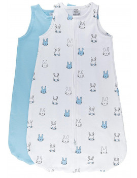 100% Cotton Wearable Blanket Sleep Bag 2 Pack Light Blue Bunnies and Solid Baby Blue Large 6-12 Months