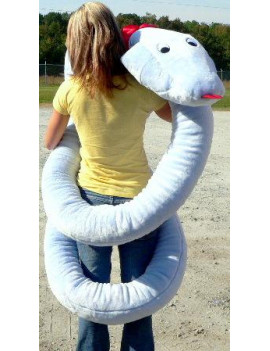 American Made Giant Stuffed Snake 18 Feet Long Big Plush Light Blue Serpent Made in the USA America