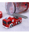 1/58 Scale Mini Electric Fire Truck Toy with Lights and Sirens Sounds, Extending Ladder and Water Pump Hose to Shoot Water, Bump and Go Action