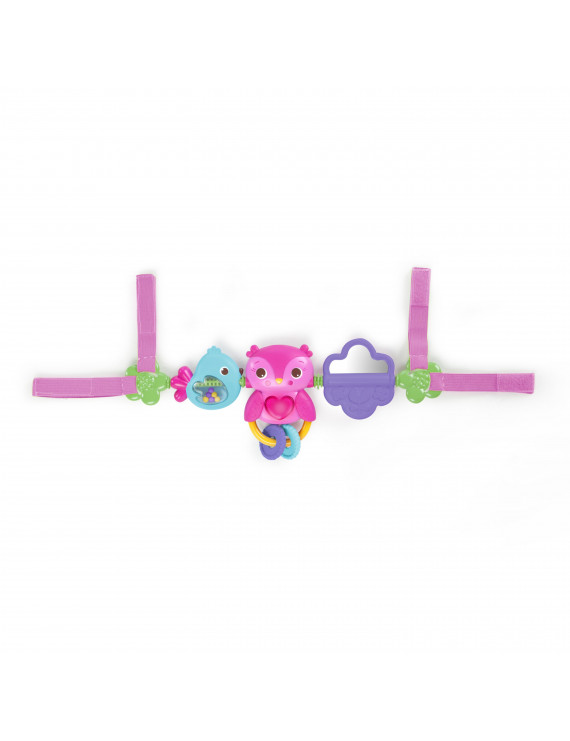 Bright Starts Busy Birdies Carrier Toy Bar Musical Take-Along Toy with Lights, Ages Newborn +