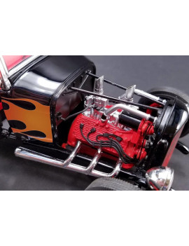 1932 Ford Hot Rod Black with Flames Limited Edition to 650 pieces Worldwide 1/18 Diecast Model Car by Acme