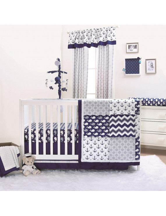 The Peanut Shell 3 Piece Baby Crib Bedding Set - Navy Blue Nautical Whales and Anchors - 100% Cotton Fabrics