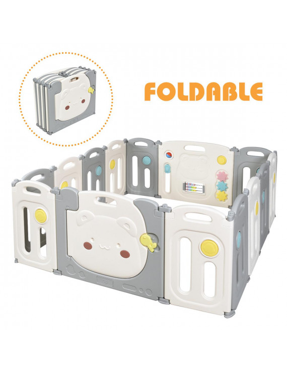 Costway 14-Panel Foldable Baby Playpen Kids Safety Yard Activity Center w/ Storage Bag