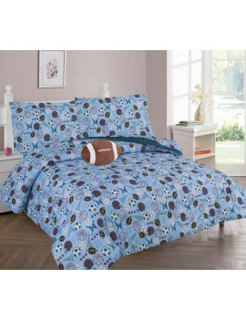 6-PC TWIN SPORT Complete Bed In A Bag Comforter Bedding Set With Furry Friend and Matching Sheet Set for Kids