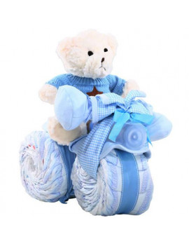 Alder Creek Gift Baskets Tricycle Diaper Cake for a Boy Gift Set, 50 pc