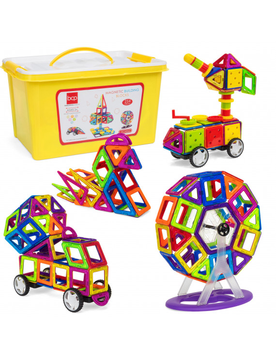 Best Choice Products 254-Piece Clear Multi Colors Magnetic Tiles Educational STEM Toy Building Set w/ Car & Carrying Bag