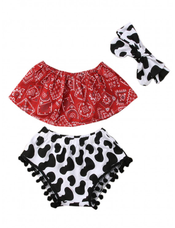 Baby Girls Cowgirl Red Bandana Top with Pom Pom Trim Bloomers and Headband 3pcs Outfit (90/12-18 Months)