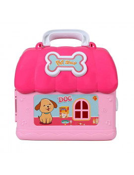 Beverly Hills Fold & Go 50 Piece Travel Pet Shop Vet Station with Doll, 8 Play Puppies, and Accessories in an On-the-Go Carry Case for Girls