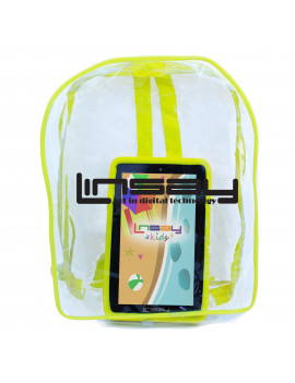 """LINSAY 7"""" Tablet Kids 2 GB RAM 16 GB Android 9.0 Pie Funny tab with Yellow Defender Case and Bag Pack Dual Camera"""