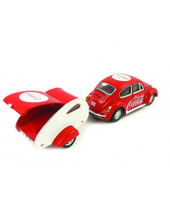 Coca-Cola 1/43 Scale 1967 VW Beetle Diecast Car with Teardrop Trailer (Collectible Toy Vehicle)