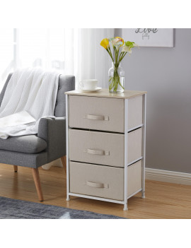 3 Drawer Vertical Storage Dresser Tower - Maple Wood Top - Sturdy Metal Frame - Linen Fabric Storage Bins with Pull Tabs - Organizer Unit for Hallway, Entryway, Closets and Bedroom - Beige