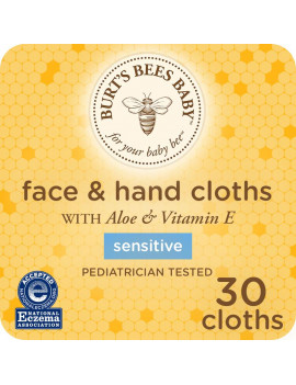 Burt's Bees Baby Face & Hand Cloths, Unscented Cleansing Wipes for Sensitive Skin - 30 Wipes