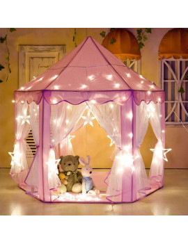 Tents for Girls, Princess Castle Play House for Child, PCWQ133PK Outdoor Indoor Portable Kids Children Play Tent for Girls Pink Birthday Gift (LED Star Lights)