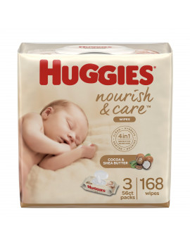 Huggies Nourish & Care Scented Baby Wipes, 3 Flip-Top Packs (168 Wipes Total)